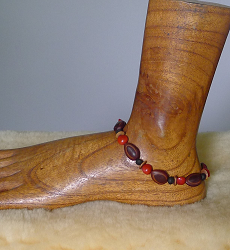 Milatto,Lebbeck,Merremia and Red Bead Seed Anklet #29