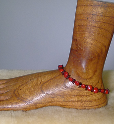 Red Bead Seed and Leucaena seed Anklet #30