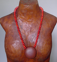 Red Bead Seeds and matchbox seed Necklace #52a