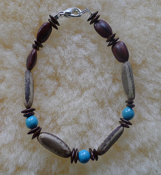 *NEW* Turquoise, Raintrees and Poinciana Seed Bracelet #72b