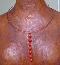Red Bead Seed Neckring #46a